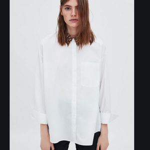 ZARA l Oversized Shirt with Printed Collar